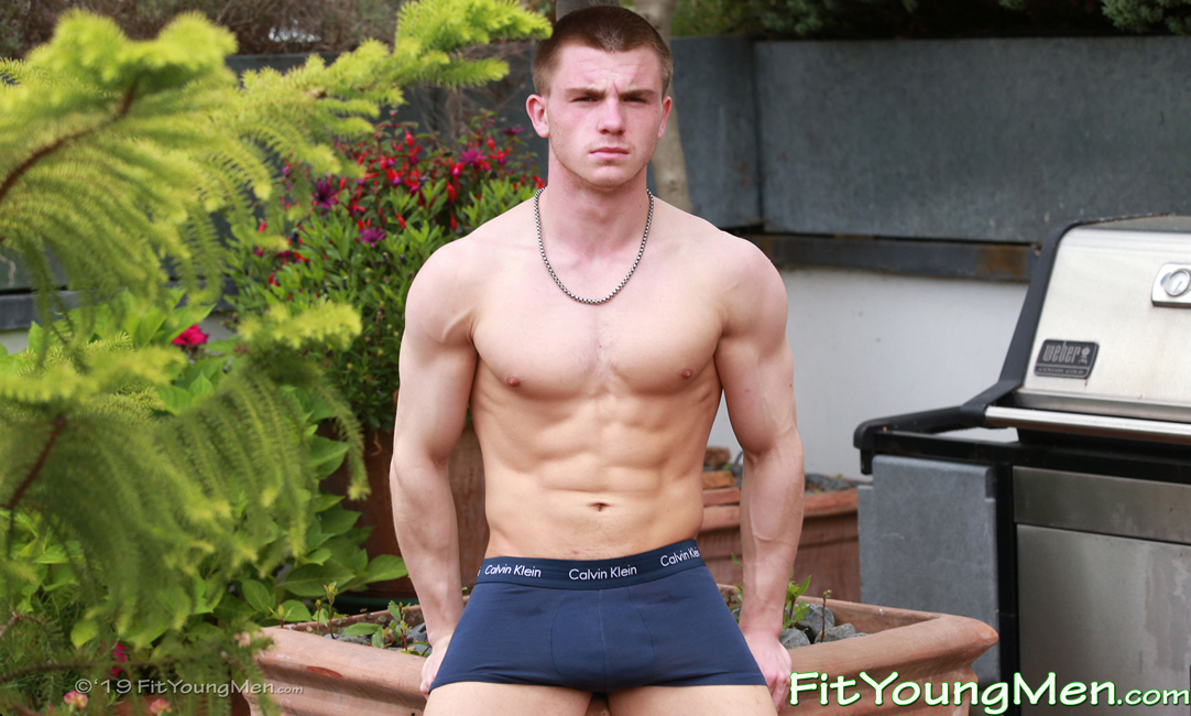 Fit Young Men: Model Teddy Milfield - Gym - Super Athletic Young Teddy Pumps his Muscles in the Sunshine